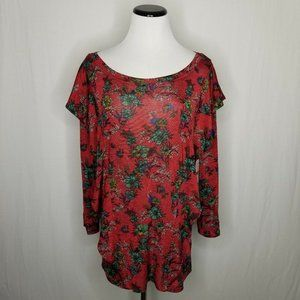 Free People Tops - Free People Red Combo Floral Dock Street Knit Top